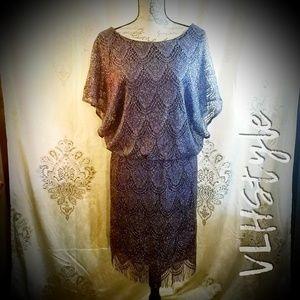 Gatsby Era Style Purple Metallic Blouson Dress